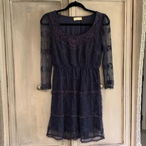 Altar'd State Deep Navy Blue Lace Dress Sz S